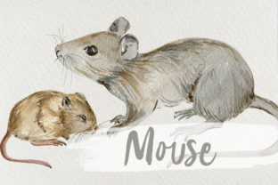 Print on Demand: Watercolor Mother and Baby Mouse Clipart Graphic Illustrations By tatibordiu