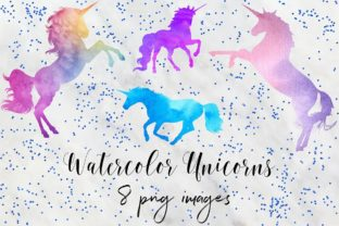 Print on Demand: Watercolor Unicorn Clipart Graphic Objects By northseastudio