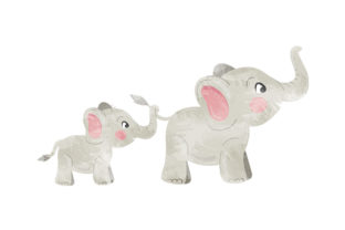 Watercolour Elephants Holding Each Other's Tails Animals Craft Cut File By Creative Fabrica Crafts