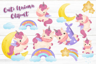 Print on Demand: Adorable Unicorn Clipart Set for Nursery Graphic Illustrations By DrawStudio1988