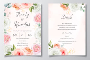 Beautiful Flower Wedding Invitation Card Graphic Print Templates By dinomikael01