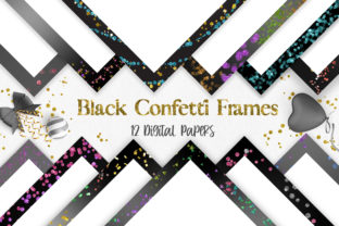 Print on Demand: Black Confetti Frames Background Graphic Backgrounds By PinkPearly