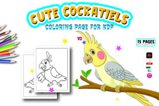 Cockatiels Coloring Pages for Kids V2 Graphic Coloring Pages & Books Kids By Moonz Coloring