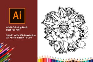 Print on Demand: Flower Coloring Pages for Adult Interior Graphic KDP Interiors By DigitalMGoods