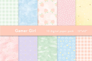 Gamer Girl Digital Paper Graphic Patterns By SincerelyNix