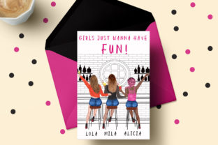 Print on Demand: Girls in Cocktail Bar Girls Clipart Graphic Illustrations By LeCoqDesign 5