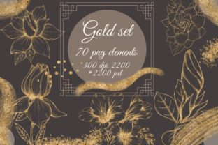 Gold Flowers Clipart, Golden Floral Graphic Objects By sidelnikova.yy