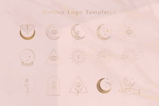 Print on Demand: Golden Logo Elements Illustrations. Moon Graphic Logos By Olya.Creative