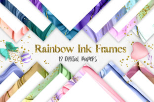 Print on Demand: Rainbow Ink Frames Background Graphic Backgrounds By PinkPearly