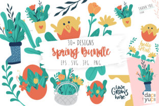 Print on Demand: Spring Collections Graphics SVG Bundle Graphic Illustrations By dapiyupi
