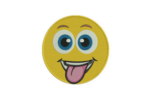 Tongue out Face Emoji Friends Embroidery Design By DigitEMB