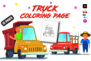 Truck Coloring Page for Kids Graphic Coloring Pages & Books By Moonz Coloring