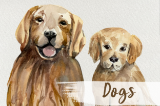 Print on Demand: Watercolor Dog and Puppy Clip Art Graphic Illustrations By tatibordiu
