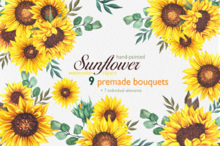Watercolor Sunflower Bouquets Graphic Illustrations By CaraulanStore