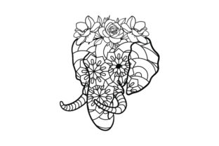 Elephant Mandala with Flower Crown Mandalas Plotterdatei von Creative Fabrica Crafts