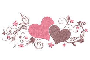 2 Hearts Valentine's Day Embroidery Design By Canada Crafts Studio
