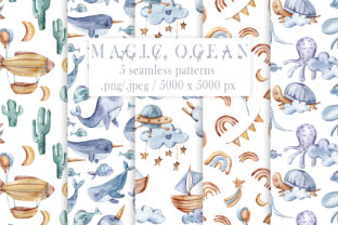 Print on Demand: 5 Watercolor Nautical Seamless Patterns Graphic Patterns By Tiana Geo