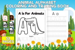 Print on Demand: Animal Alphabet Coloring & Tracing Book Graphic KDP Interiors By Kristy Coloring