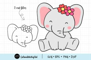 Baby Elephant with Flower Svg Graphic Illustrations By CatAndMe