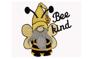Bee Kind Gnome Inspirational Embroidery Design By Canada Crafts Studio