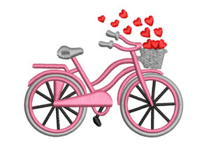 Bicycle with Hearts Sports Embroidery Design By Canada Crafts Studio