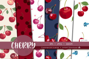 Print on Demand: Cherry Seamless Pattern Fruit Background Graphic Patterns By jannta