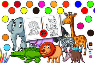 Cute Animals Dot Markers with 50 Page Graphic KDP Interiors By Moonz Coloring