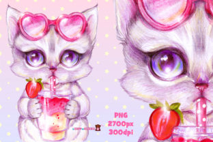 Print on Demand: Cute Kitten with Strawberry Cocktail Graphic Illustrations By ladymishka