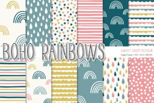Digital Paper Pack BOHO RAINBOWS Graphic Patterns By Sweet Shop Design