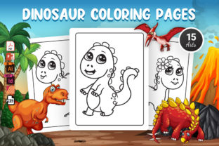 Dinosaur Coloring Pages - KDP Interior Graphic Coloring Pages & Books Kids By Moon