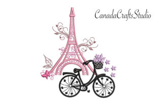 Eiffel Tower & Bike Europe Embroidery Design By Canada Crafts Studio