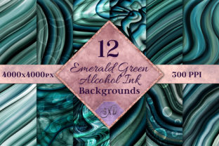 Print on Demand: Emerald Green Alcohol Ink Backgrounds Graphic Backgrounds By SapphireXDesigns