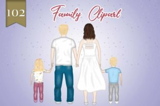 Print on Demand: Family Clipart Father Mother and Kids Graphic Illustrations By Grafixeo