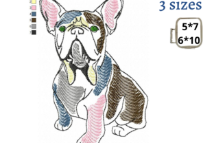 French Bulldog Watercolor Design Dogs Embroidery Design By EmbDesigns