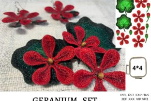 Geranium Flower Accessories Embroidery Design By EmbDesigns