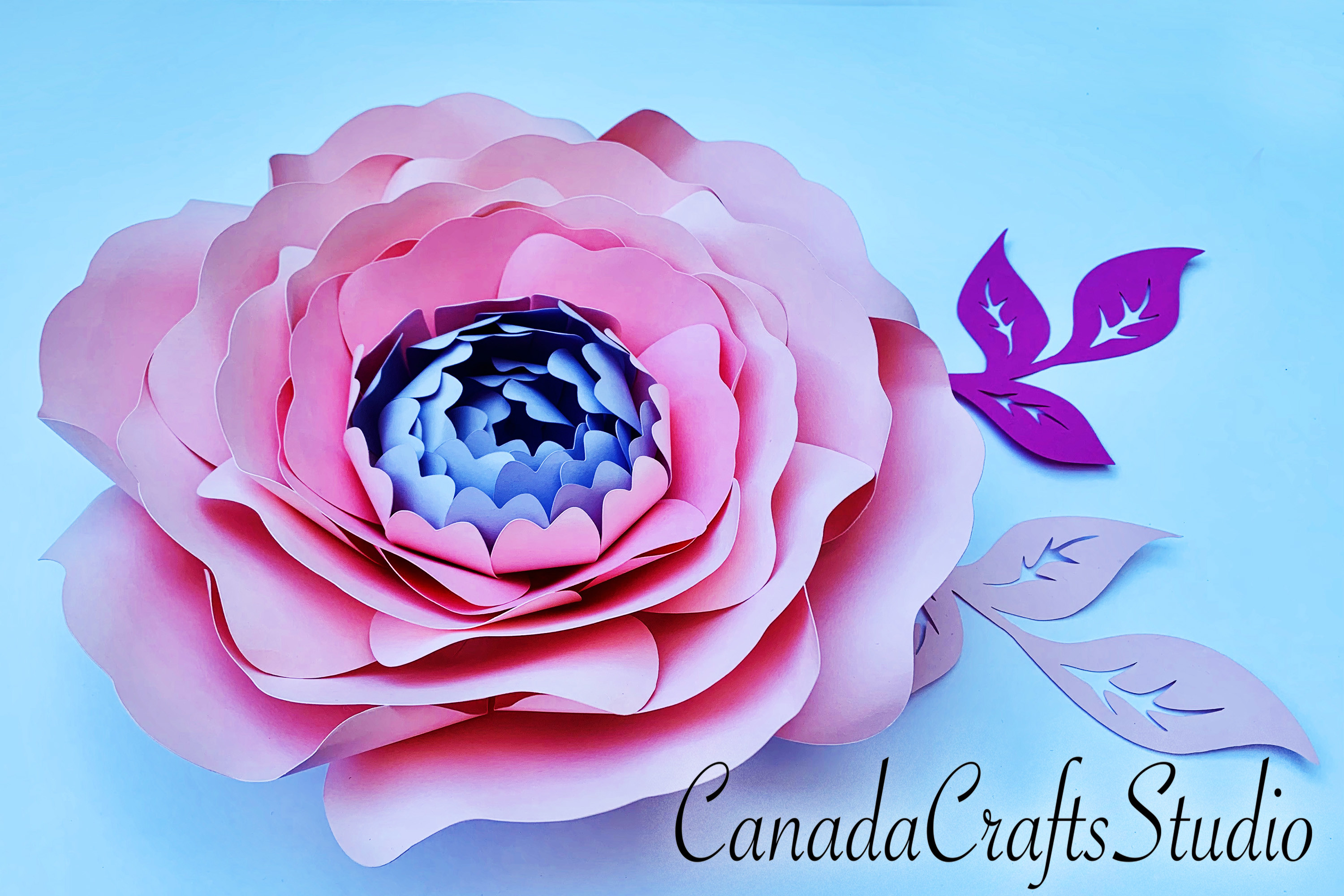 Giant Peony Paper Flower Template & Leaf SVG File