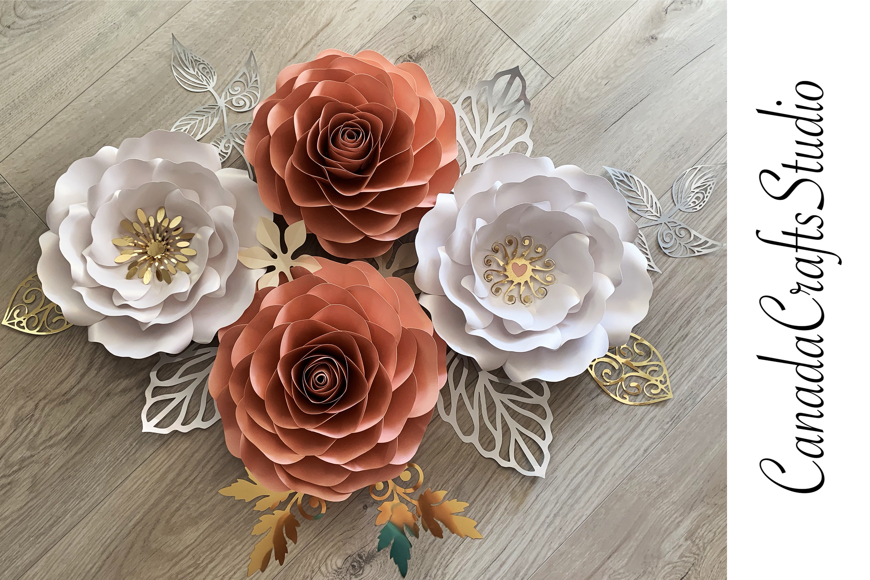 Giant Rose Paper Flower Wall Template SVG File