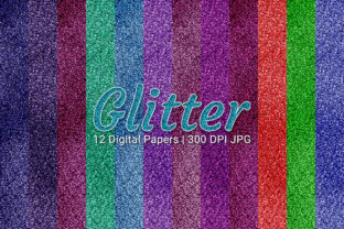 Print on Demand: Glitter Digital Textures Papers Set Graphic Backgrounds By Craphist