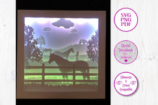 Horses and Girl 3D Paper Cut Shadow Box Graphic 3D Houses By Jumbleink Digital Downloads