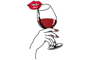 Print on Demand: Lips, Wine, Lady Wine & Drinks Embroidery Design By Dizzy Embroidery Designs