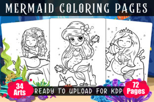 Mermaid Coloring Pages 34 in 1 Bundle Graphic KDP Interiors By XpertDesigner