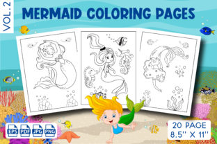 Mermaid Coloring Pages for Kids Vol. 2 Graphic KDP Interiors By Vibgyor