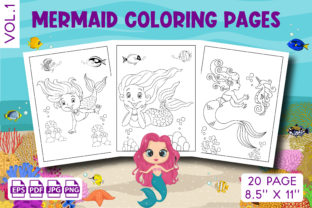 Mermaid Coloring Pages for Kids Vol. 1 Graphic KDP Interiors By Vibgyor