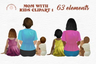 Mom with Kids Clipart Mom and Toddler 1 Graphic Illustrations By clipartsNprintables