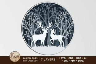 Multilayer Cut File PANNO DEER Graphic 3D SVG By LaserCutano