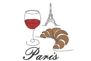Paris, Eiffel Tower, Croissant, Wine Wein & Drinks Stickdesign von Canada Crafts Studio