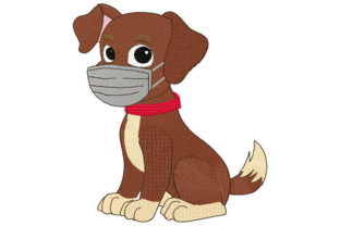 Puppy with Face Mask Animals Embroidery Design By Dizzy Embroidery Designs