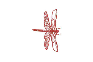 Red Dragonfly Bugs & Insects Embroidery Design By DigitEMB