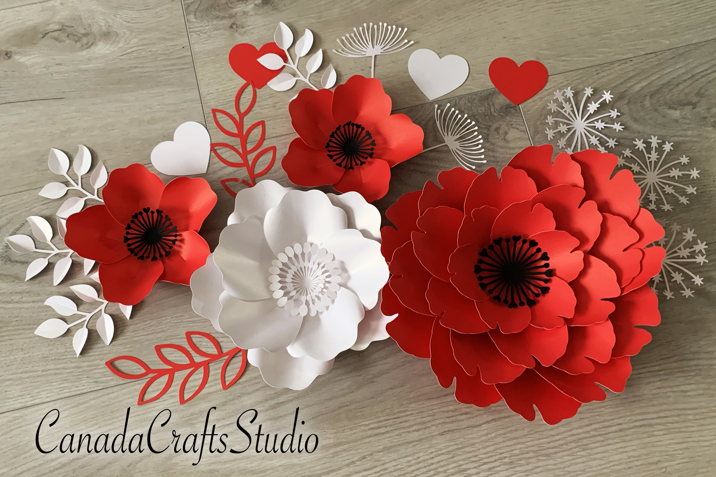 Red Giant Paper Flower Composition SVG File