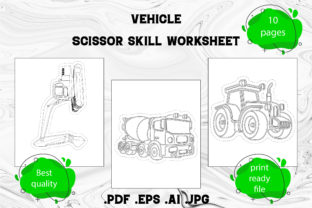 Print on Demand: Scissor Skill for Kids Vehicle Part 3 Graphic Coloring Pages & Books Kids By Day Dreamer